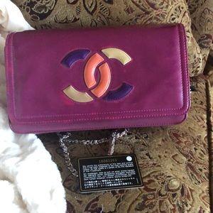 💯CHANEL auth card + serial # purple vinyl bag